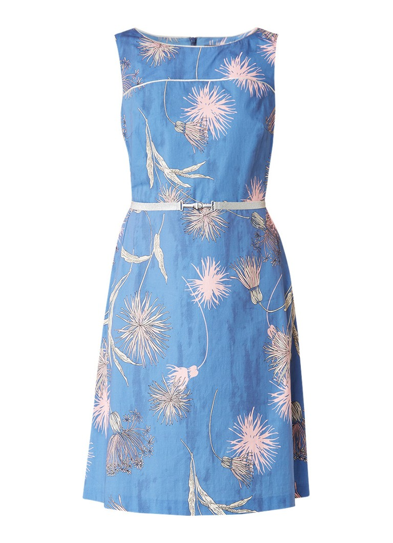 Expresso Froukje A-lijn jurk met print blauw