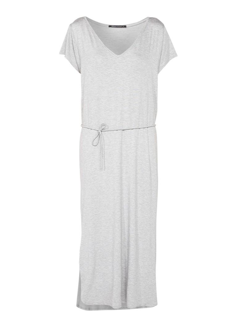 Expresso Ginette midi-jurk met V-hals en splits grijsmele
