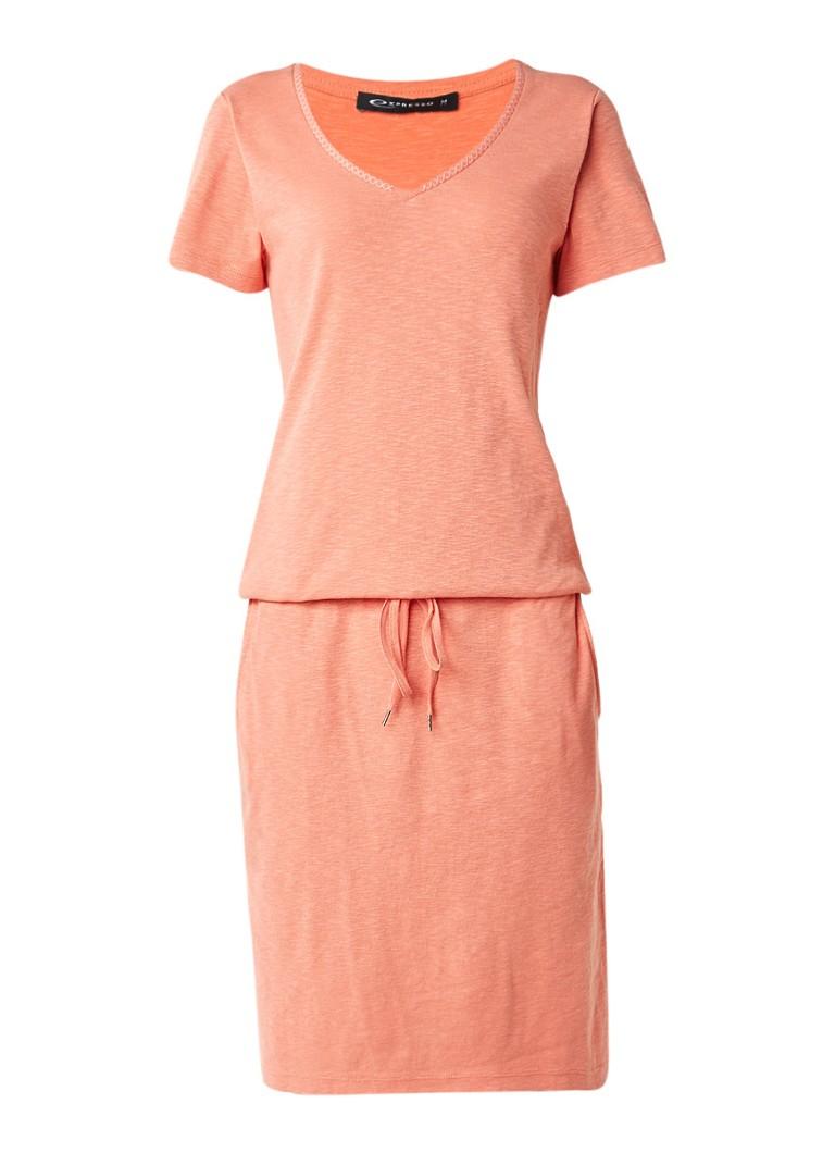 Expresso Eden jurk van katoenjersey met strikceintuur perzikroze