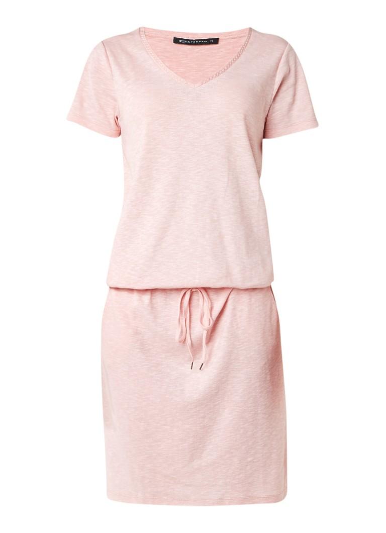 Expresso Feden jurk van katoenjersey met strikceintuur lichtroze