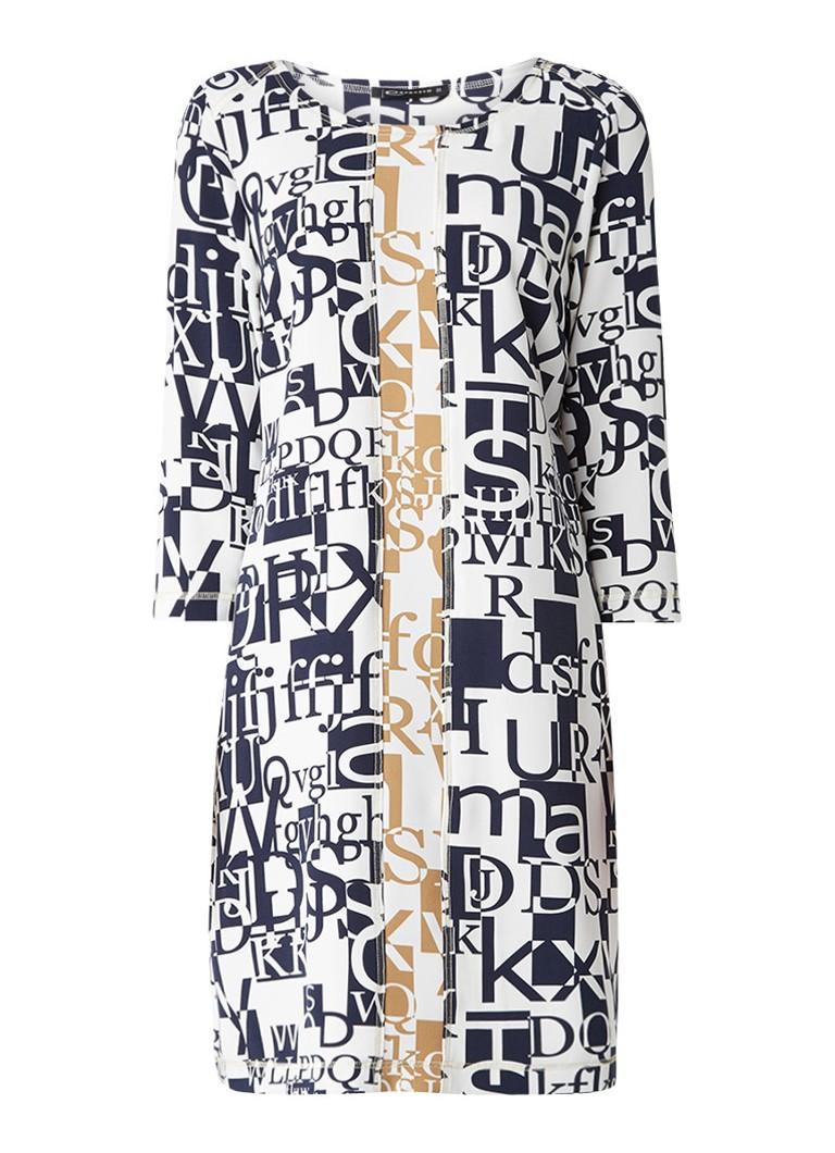Expresso Huub rechte jurk met grafisch letterdessin donkerblauw