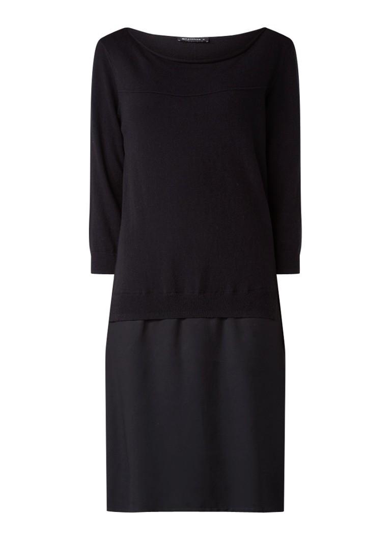 Expresso Jennifer fijngebreide jurk met contraststof zwart