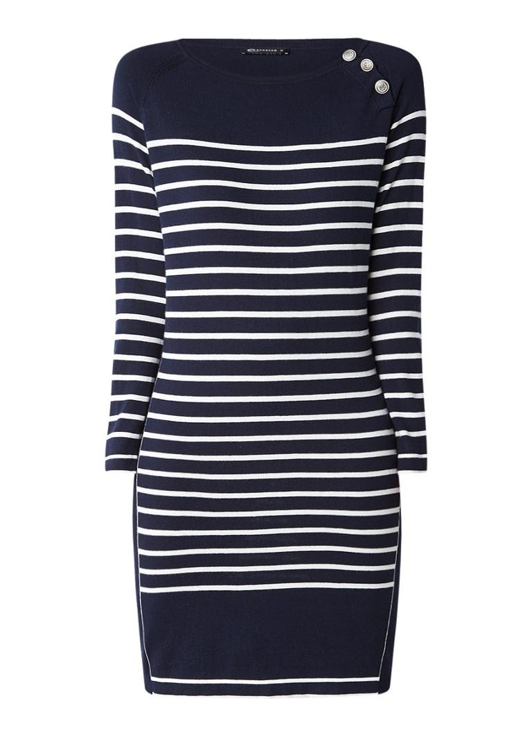 Expresso Kirsten fijngebreide jurk met streepdessin donkerblauw