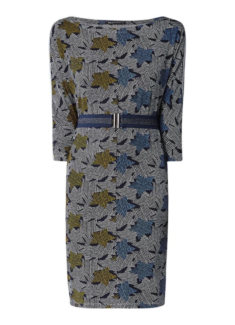 Expresso Klara jersey jurk met dessin en ceintuur donkerblauw