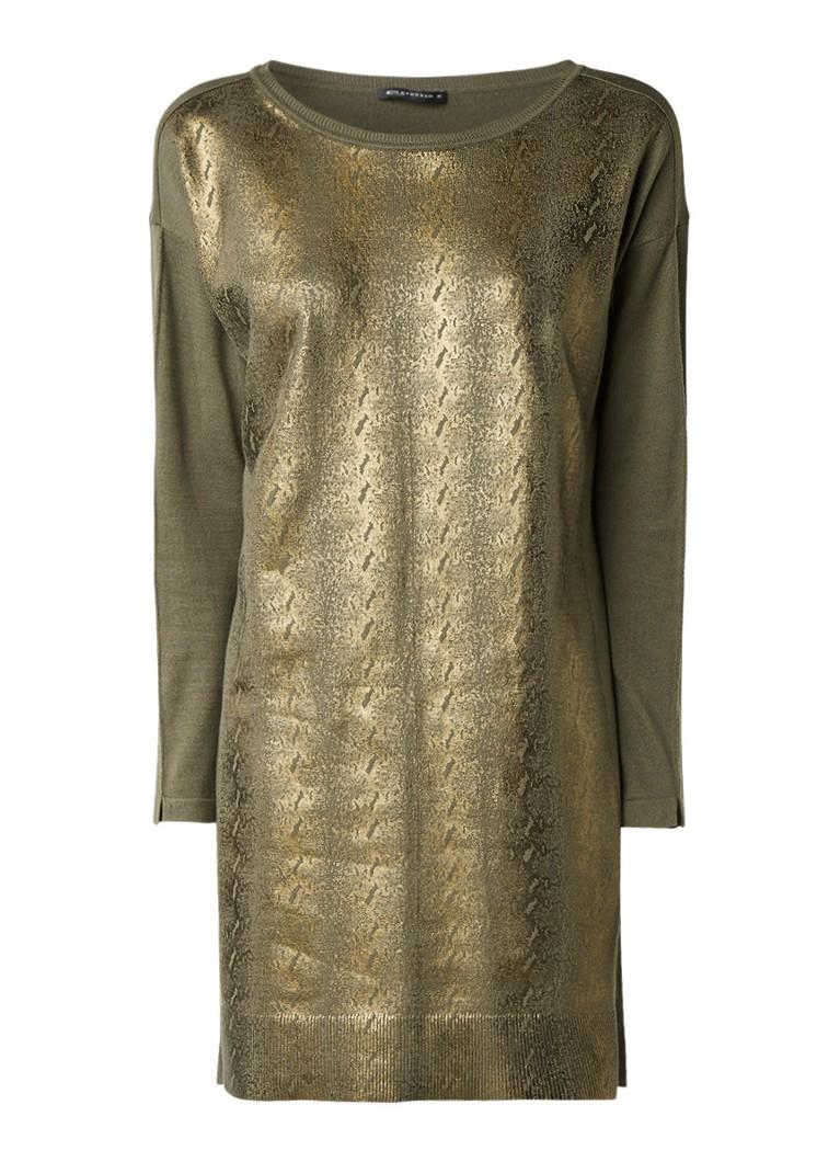 Expresso Leslie fijngebreide trui-jurk met metallic coating mosgroen