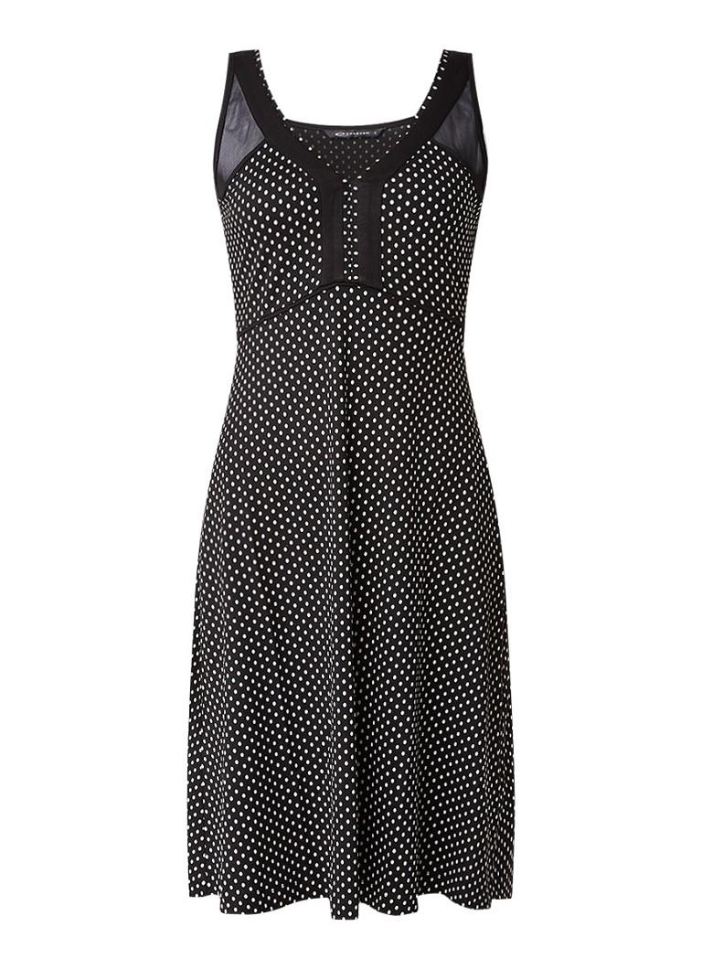 Expresso Ivy A-lijn jurk met polkadots zwart