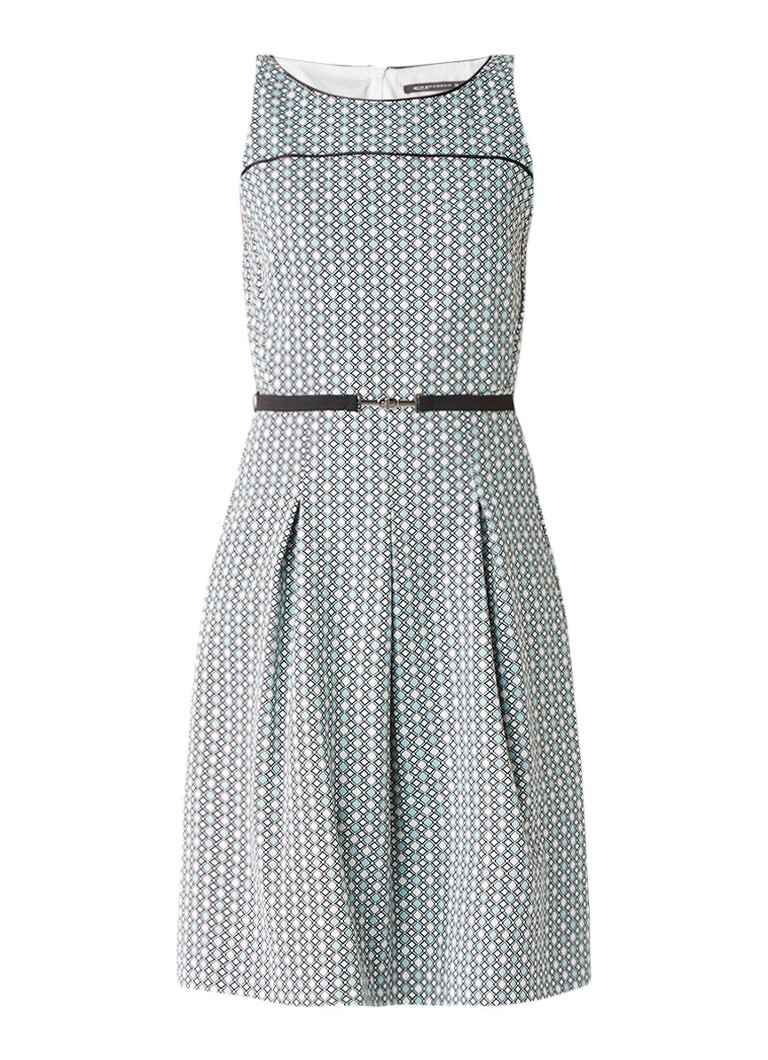 Expresso Susan geplooide A-lijn jurk met ceintuur mint