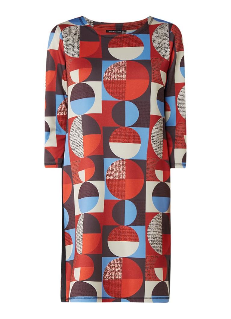 Expresso Masha scuba jurk met grafisch dessin multicolor