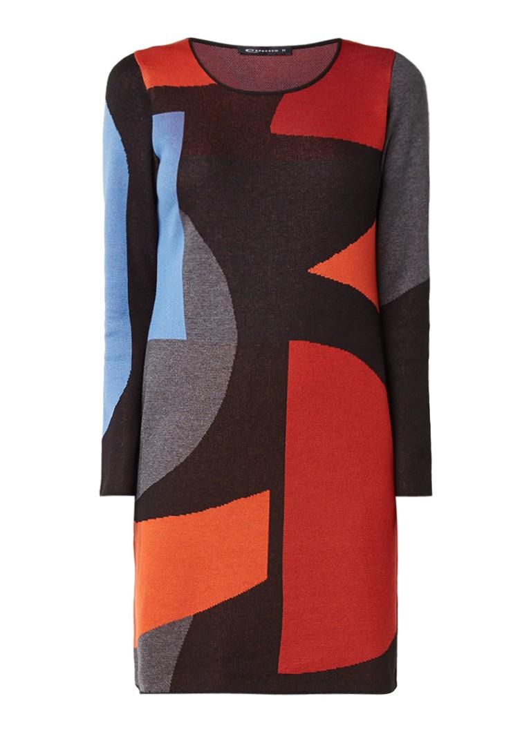 Expresso Melody fijngebreide jurk met colour block multicolor