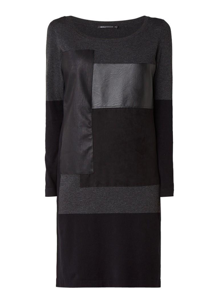 Expresso Milan fijngebreide jurk met patchwork dessin zwart