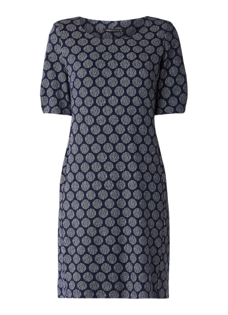 Expresso Noor jurk in katoenblend met dessin donkerblauw