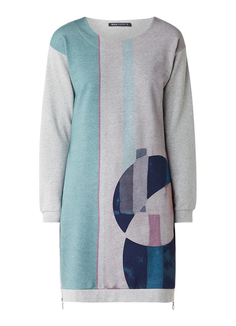 Expresso Norence sweaterjurk met print en ritsdetails grijsmele