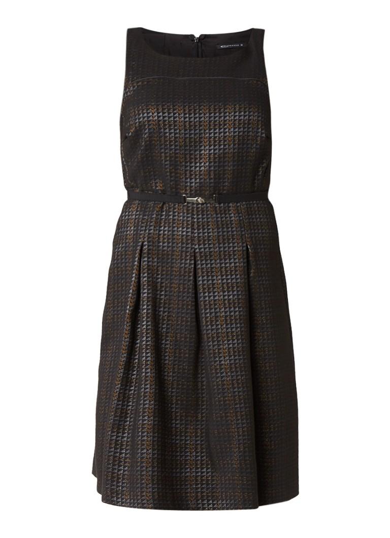 Expresso Paulus jacquard jurk met tailleceintuur zwart