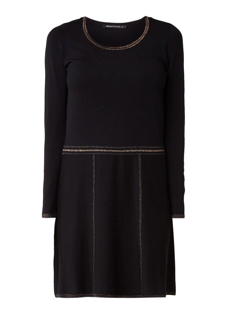 Expresso Pinky fijngebreide jurk met details van lurex zwart