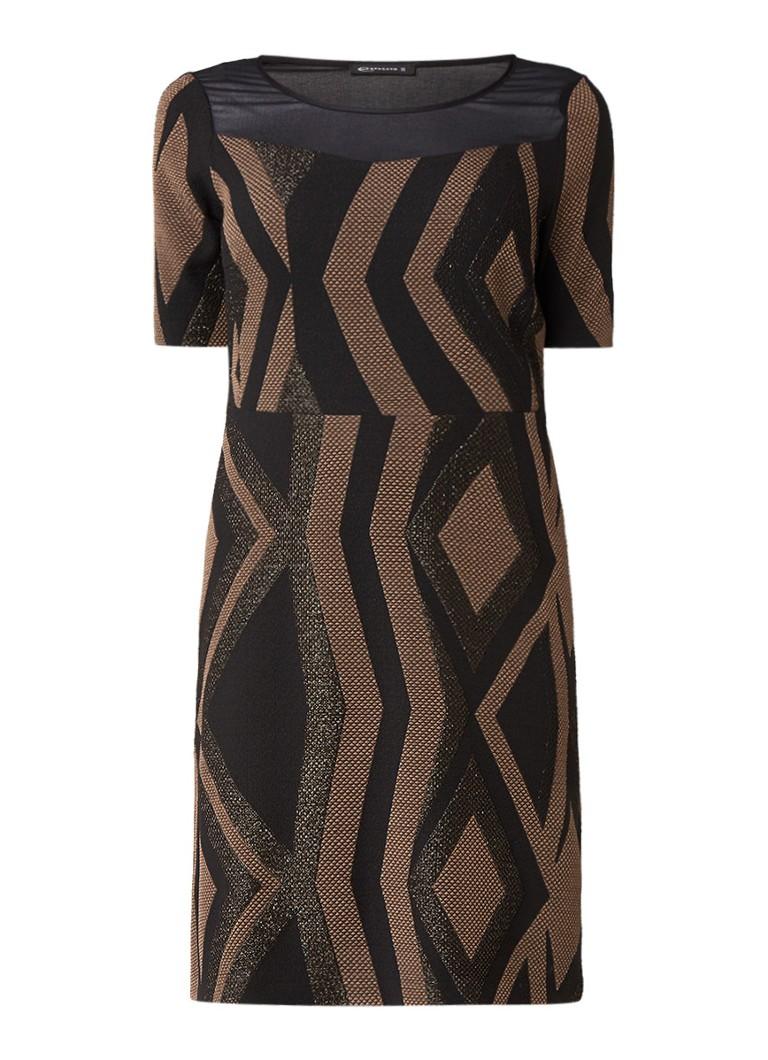 Expresso Pippa jurk met structuur en detail van mesh zwart