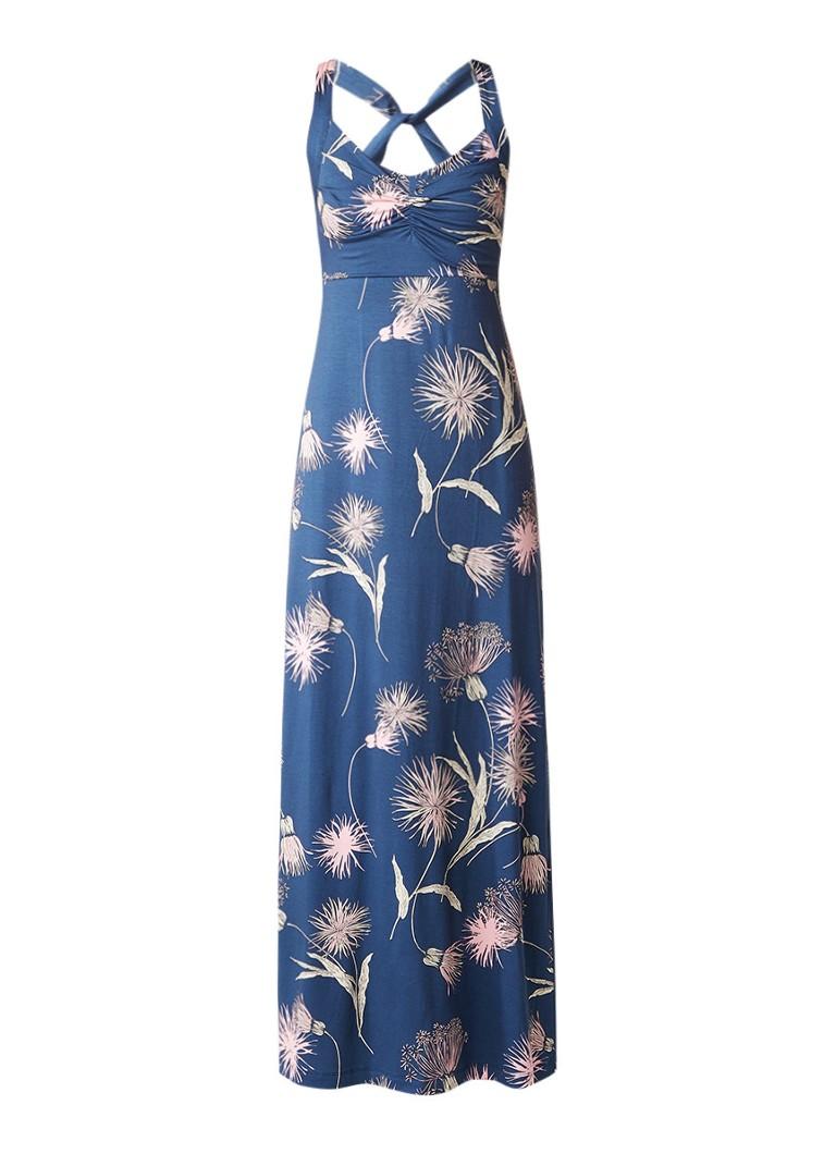 Expresso Serra maxi-jurk van jersey met bloemendessin donkerblauw