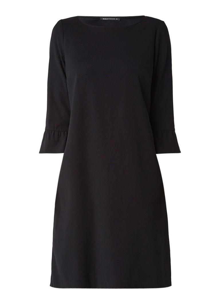 Expresso South jurk van crêpe met volantmouw zwart