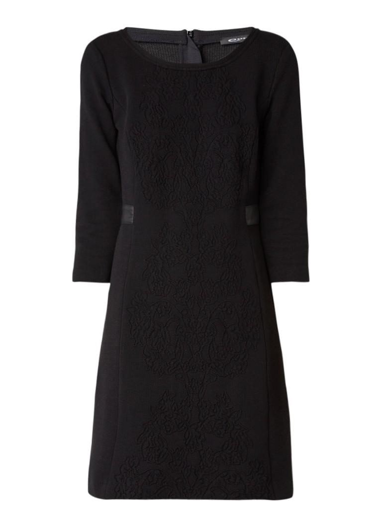 Expresso Midi-jurk met detail van imitatieleer en borduring zwart