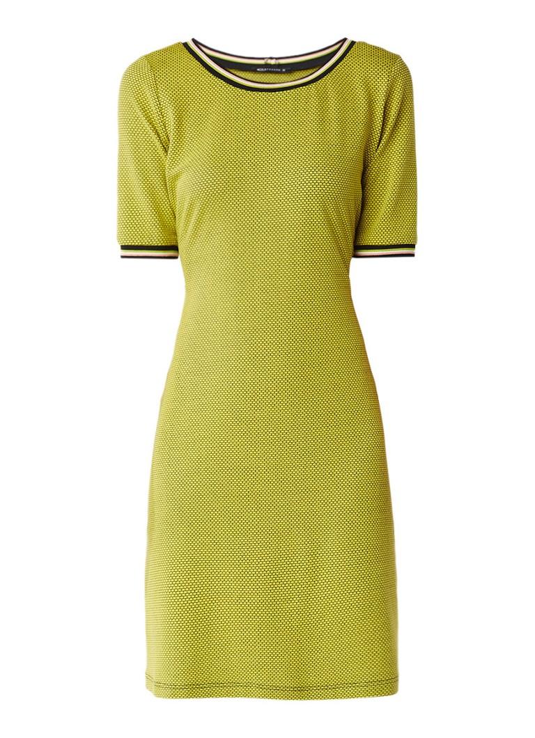 Expresso Barbara A-lijn jurk met doorgestikt dessin lime