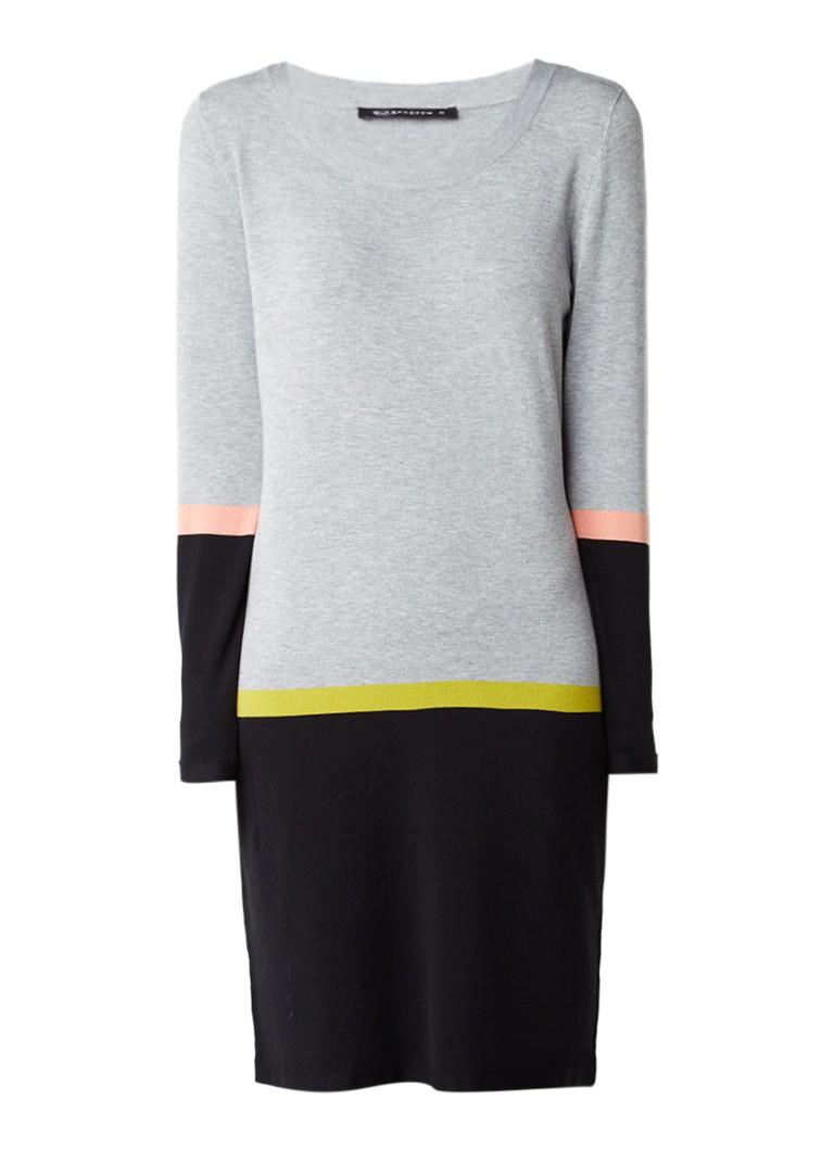 Expresso Berber fijngebreide jurk met colour blocking grijs