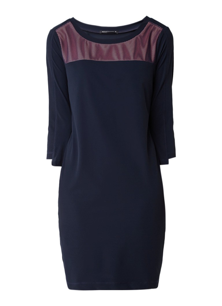 Expresso Cara jurk van jersey met detail van mesh donkerblauw