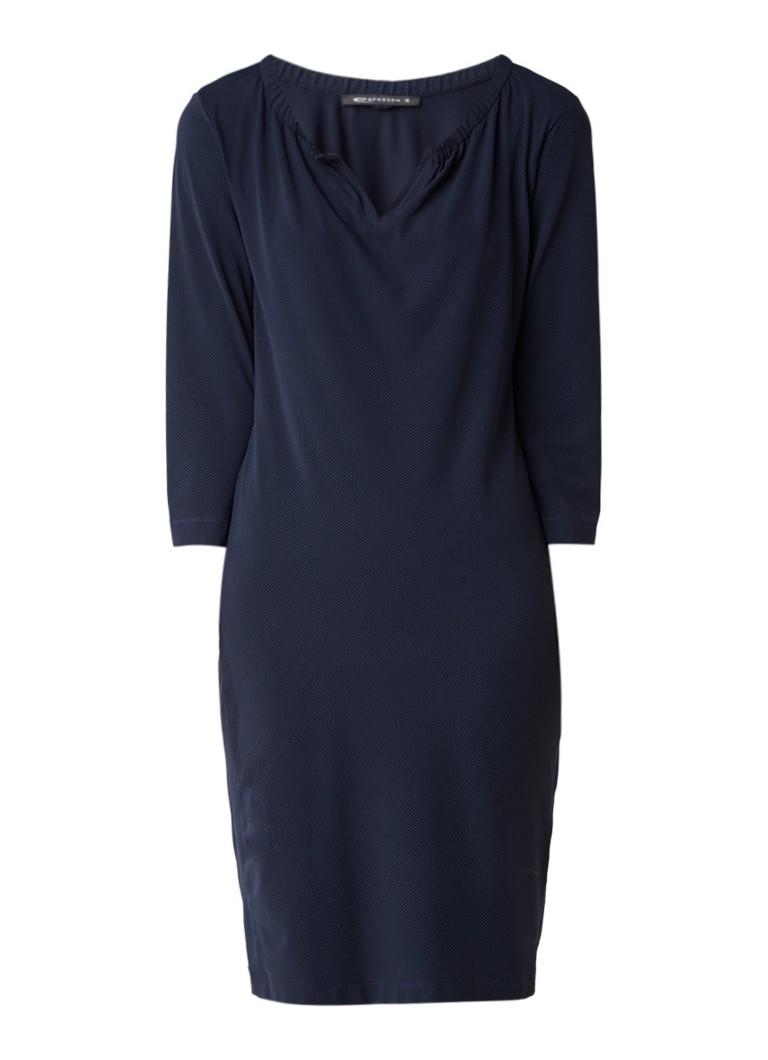 Expresso Chana jurk met stippendessin en elastische kraag donkerblauw
