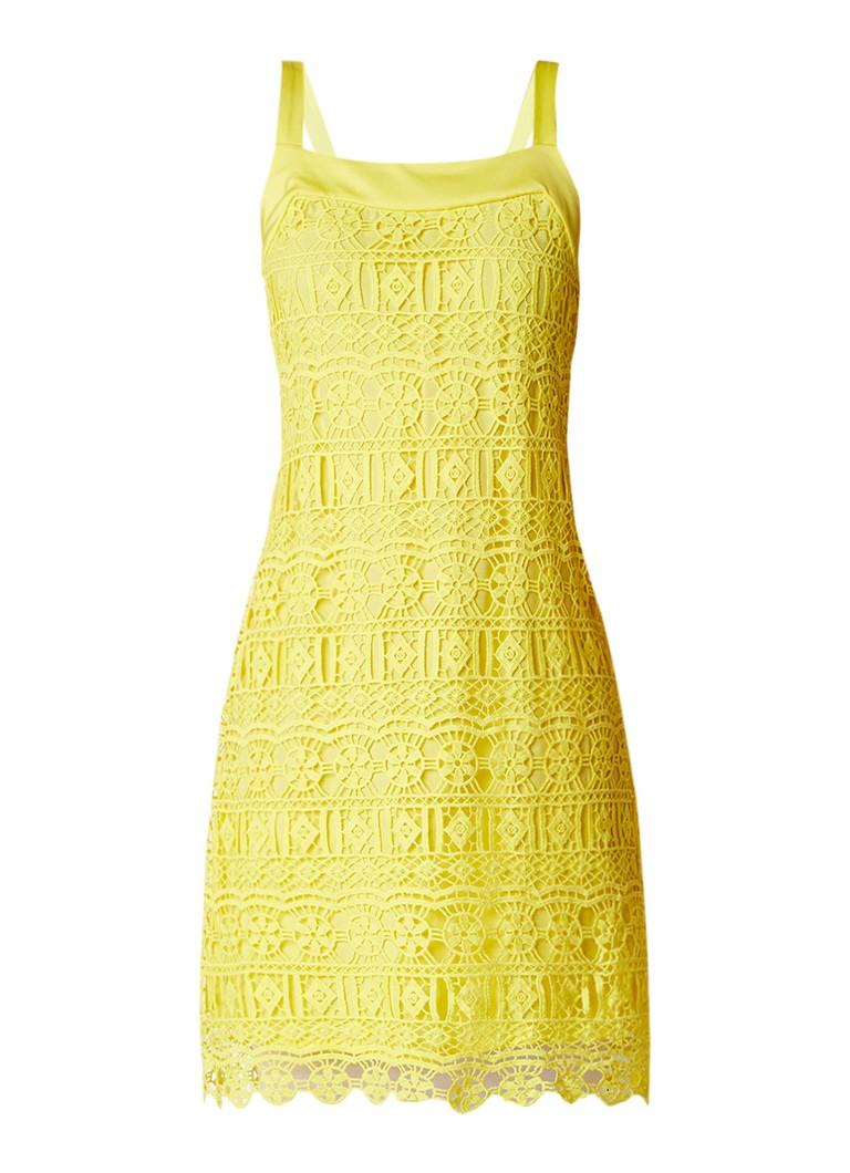 Expresso Ellemiek kokerjurk met overlay van guipure-kant geel