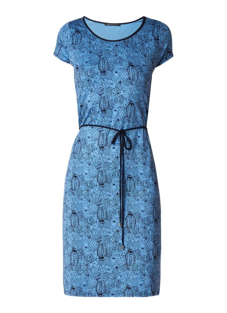 Expresso Ellemijn tuniekjurk van jersey met cactusprint middenblauw