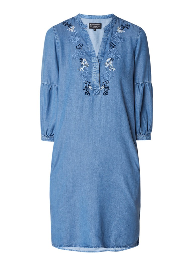 Expresso Emelien tuniekjurk van denim met borduring indigo