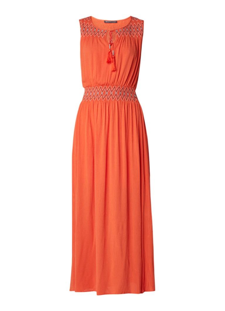 Expresso Face maxi-jurk met gesmockte details oranje