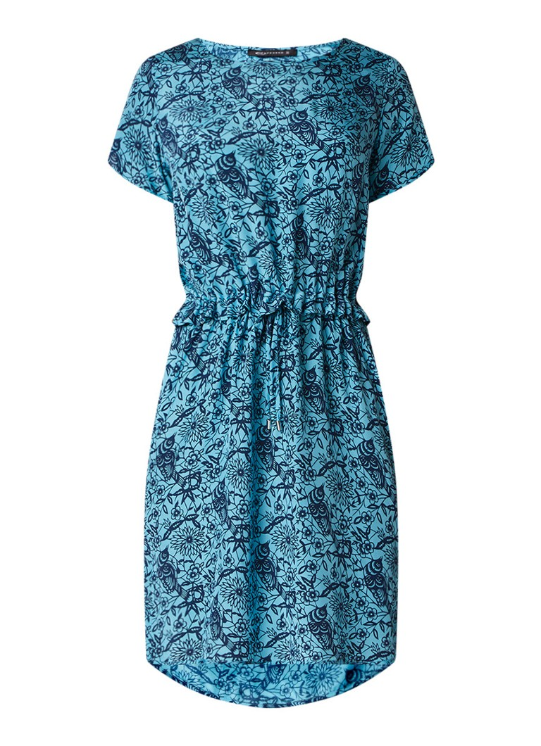 Expresso Feesia tuniekjurk met bloemendessin en taillekoord middenblauw