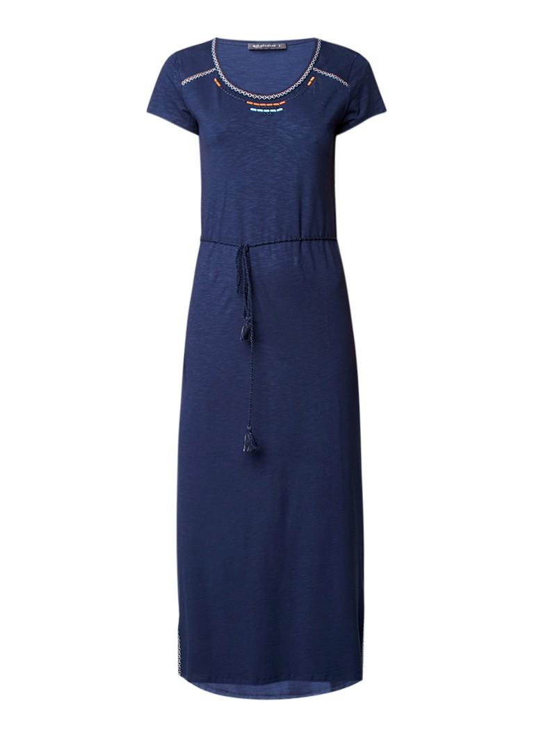 Expresso Maxi-jurk met geborduurde details en taillekoord donkerblauw
