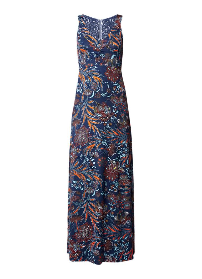 Expresso Felicia maxi-jurk met broderie en bloemendessin donkerblauw