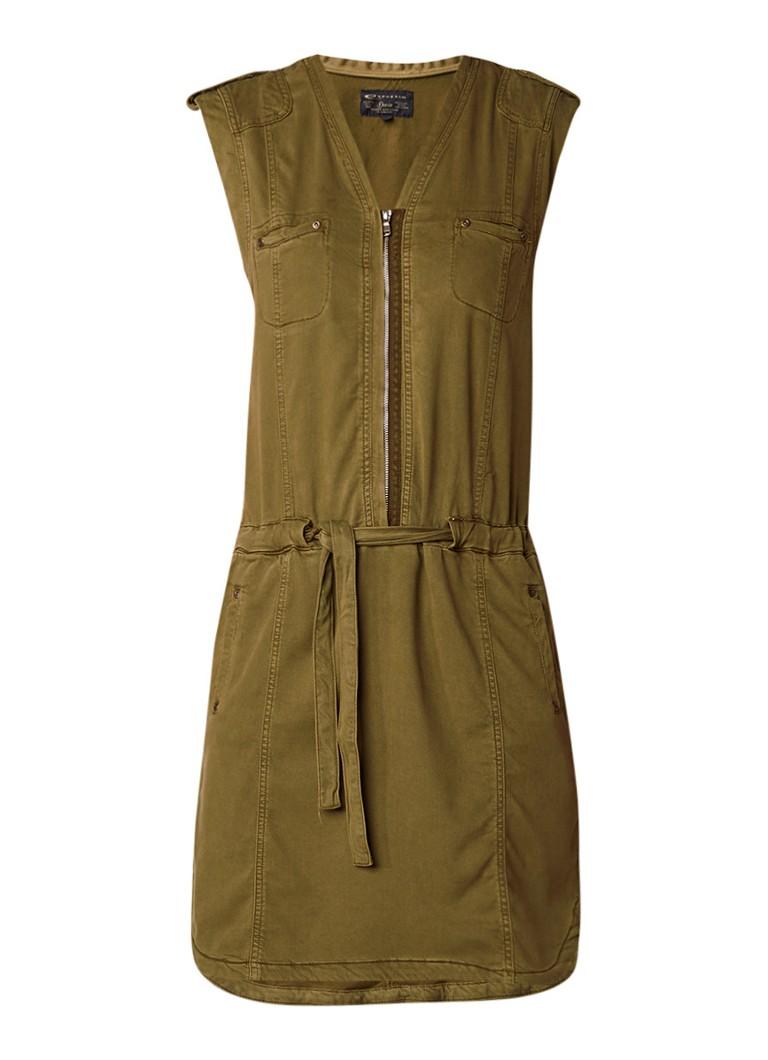 Expresso Gedine cargo midi-jurk van lyocell legergroen