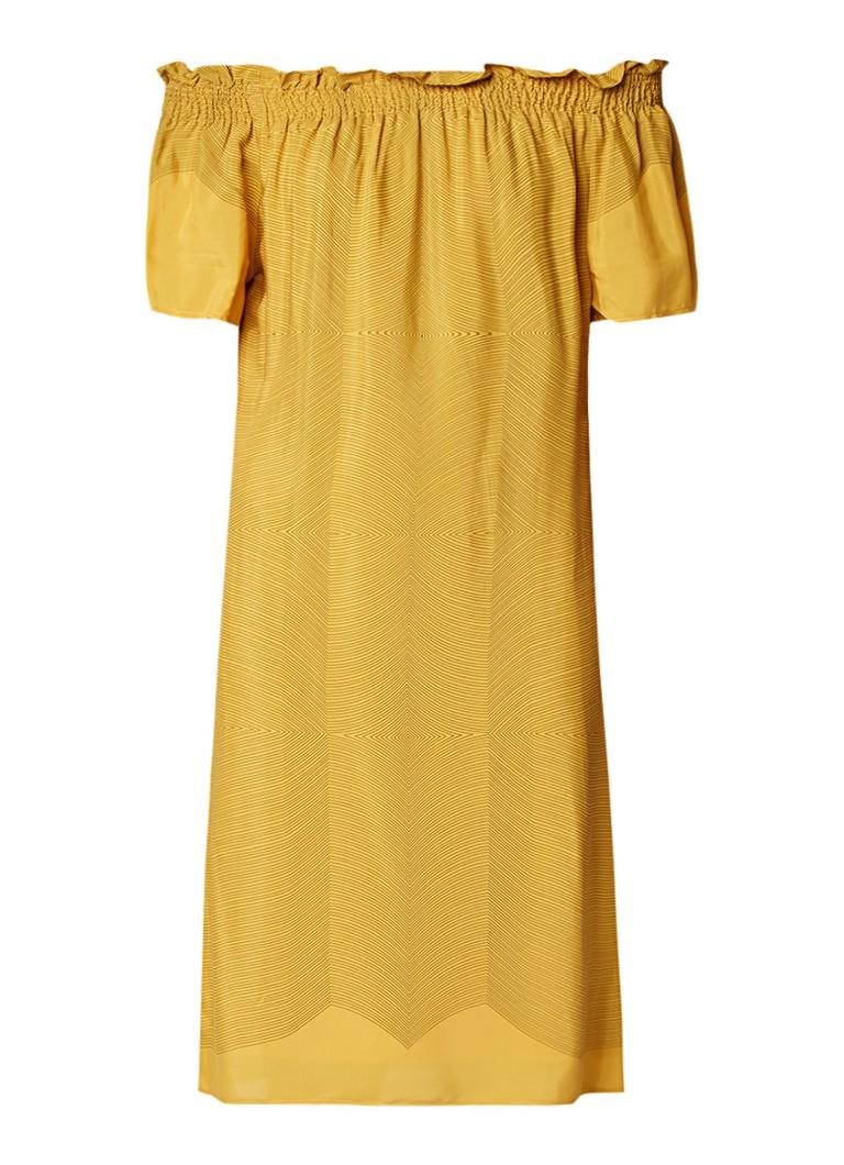 Expresso Gijs off shoulder jurk met grafisch dessin okergeel