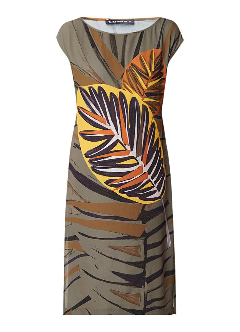 Expresso Goldy loose fit midi-jurk van crêpe met bladdessin olijfgroen
