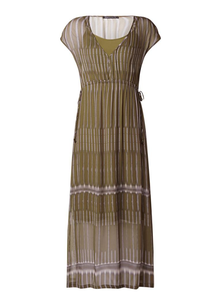 Expresso Grove semi-transparante maxi-jurk met streepdessin olijfgroen