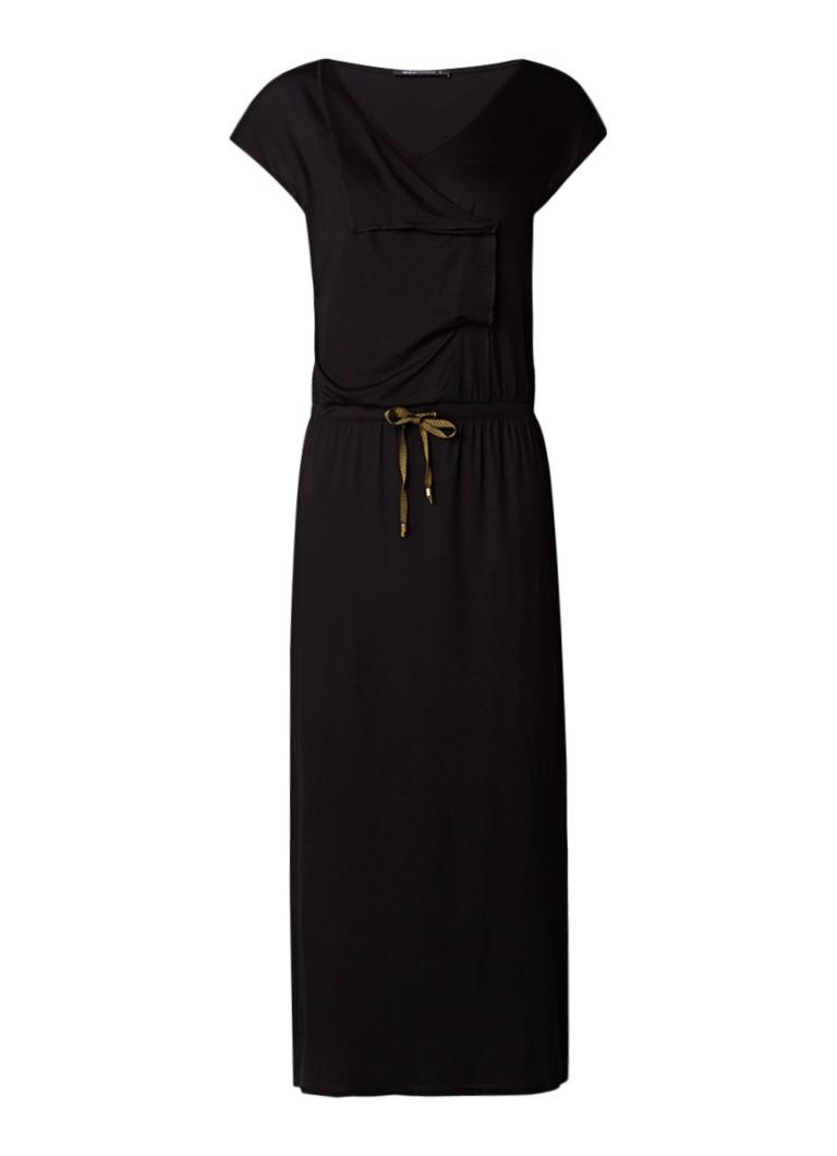 Expresso Gwen maxi-jurk van jersey met tunnelkoord zwart