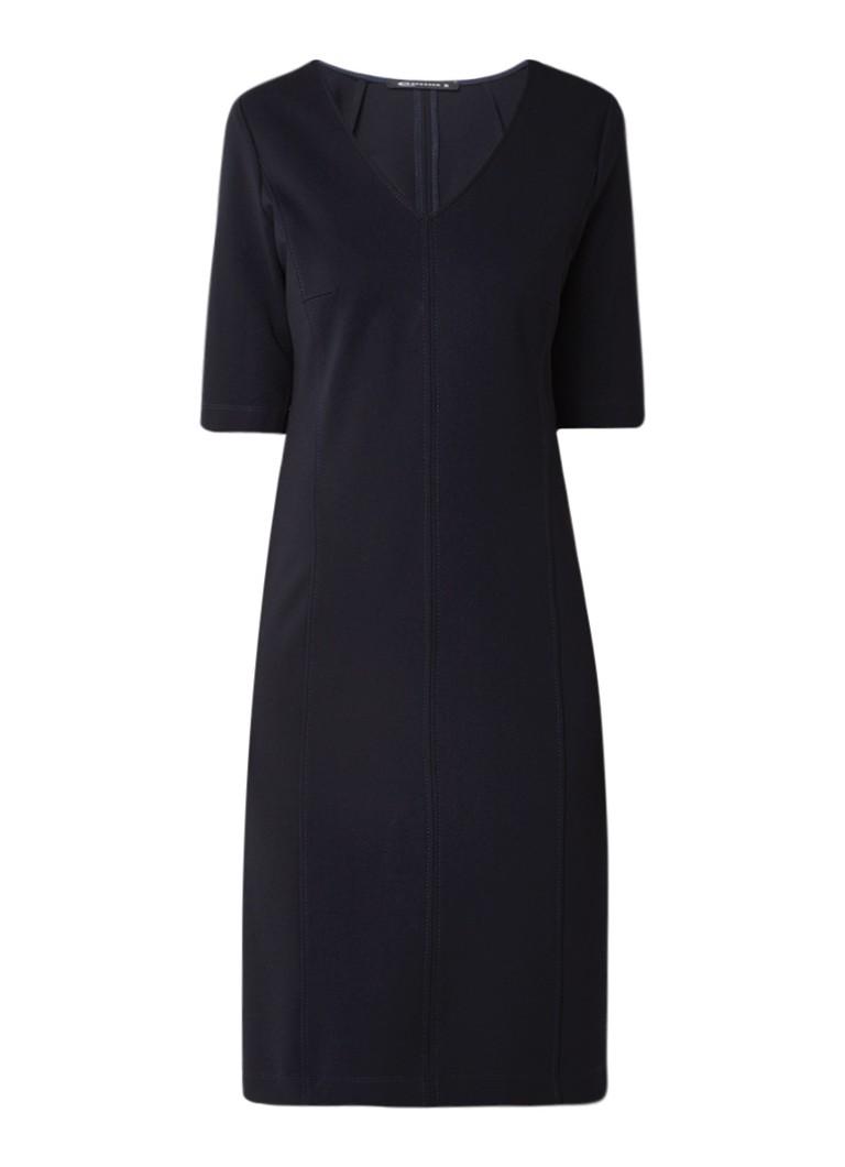 Expresso Xidonia midi-jurk met deelnaden en stretch donkerblauw