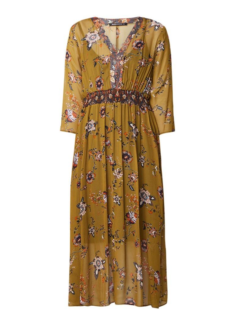 Expresso Hilde gebloemde maxi-jurk met gesmockte details mosgroen