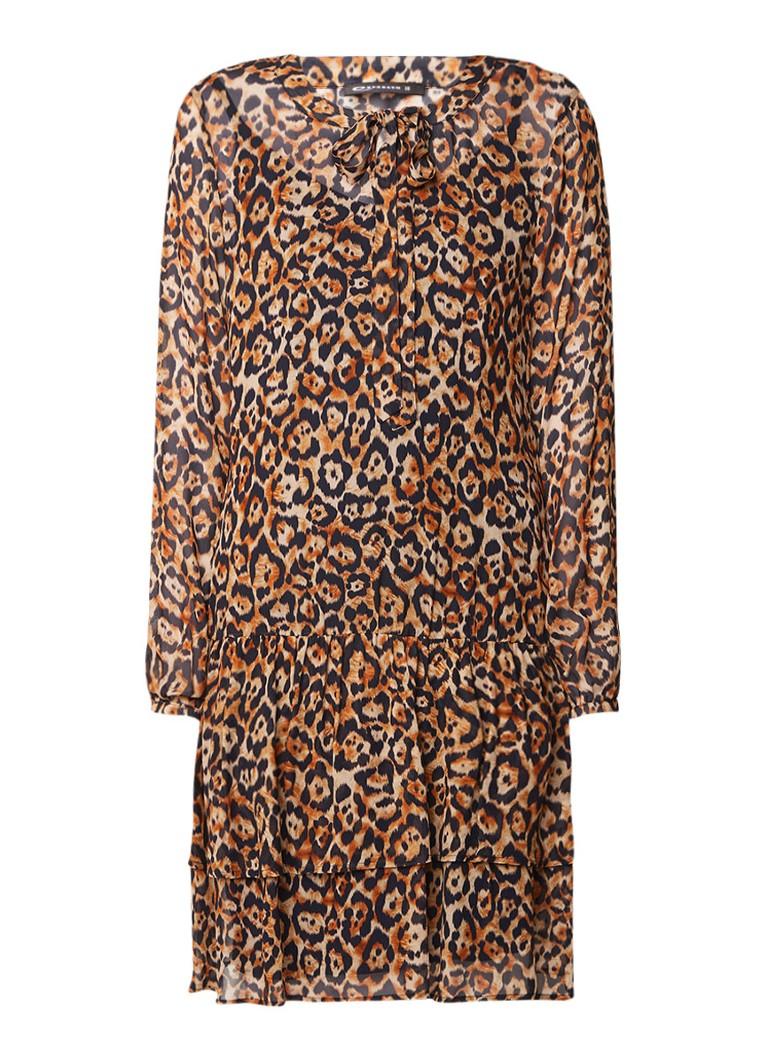 Expresso Hilly midi-jurk met luipaarddessin en volant roestbruin