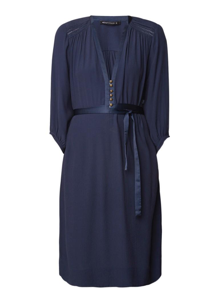 Expresso Holly midi-jurk van crêpe met strikceintuur donkerblauw