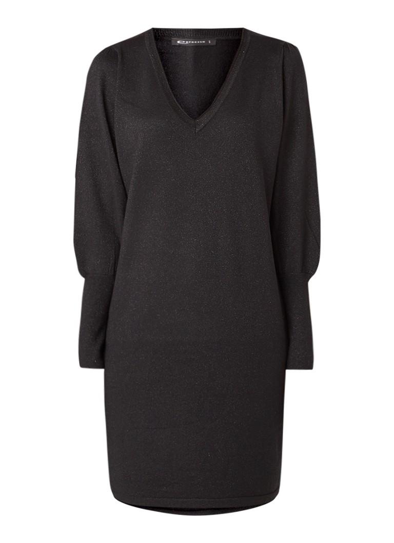 Expresso Jasmijn fijngebreide midi-jurk met lurex zwart
