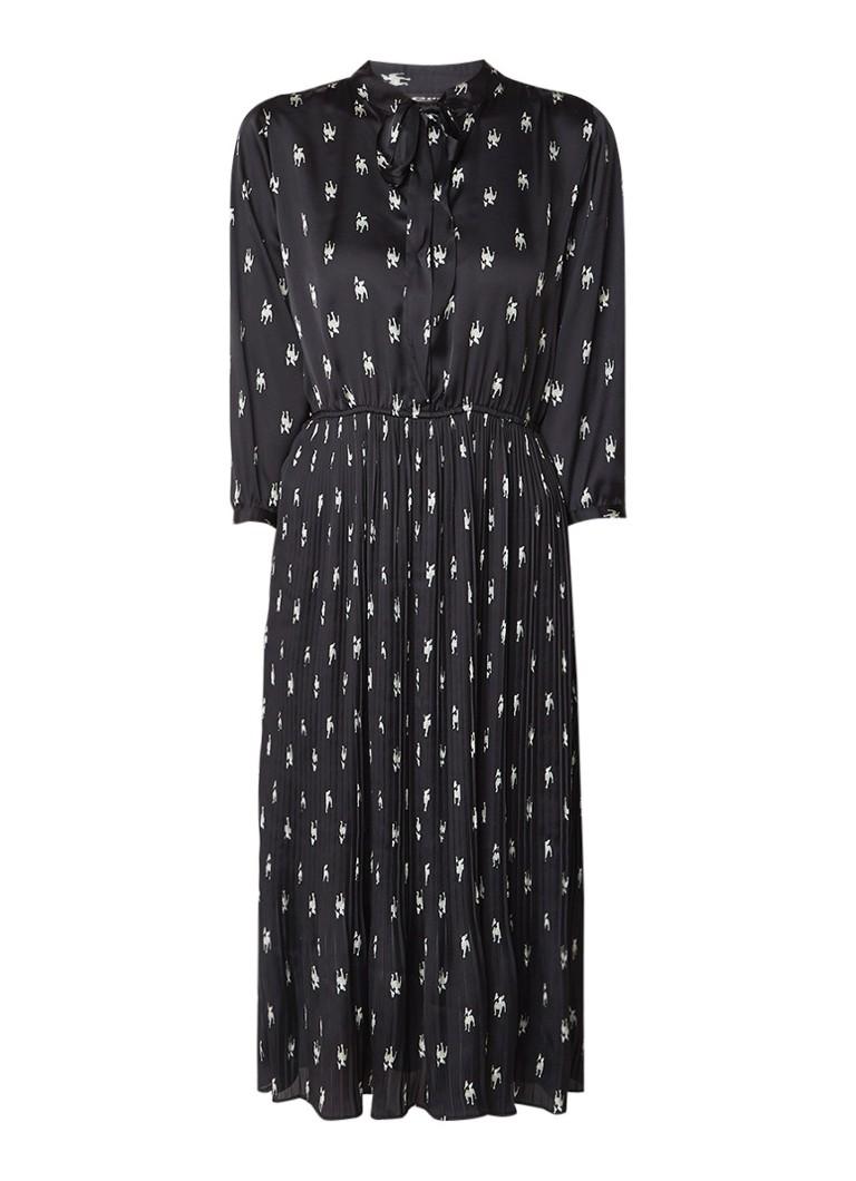 Expresso Jolie blousejurk met plissé rok zwart