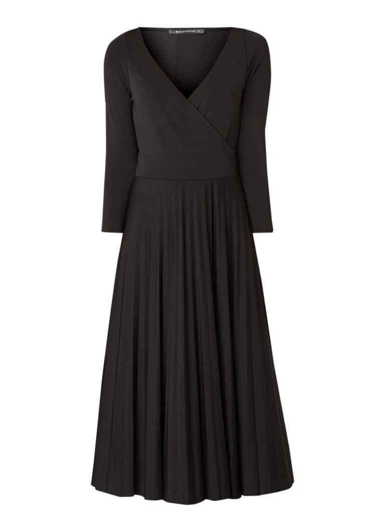 Expresso Juno maxi-jurk met geplisseerde rok zwart