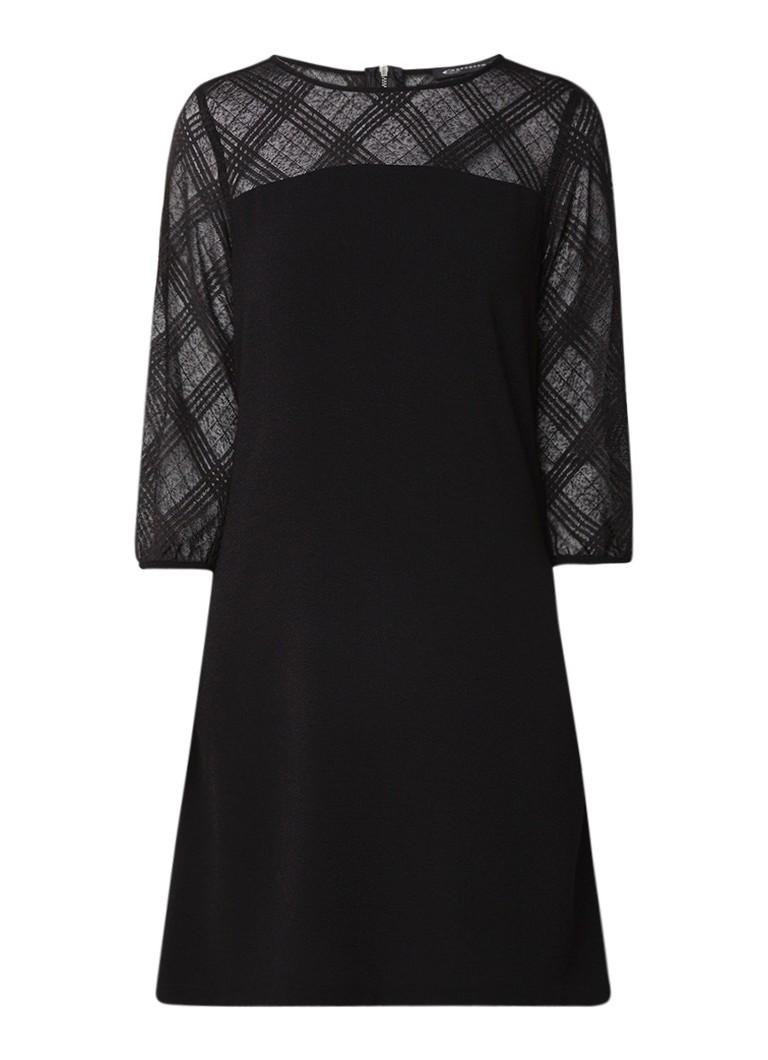 Expresso Juul midi-jurk van crêpe met driekwartmouw zwart