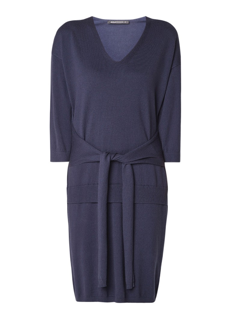 Expresso Klaudia fijngebreide midi-jurk met strikceintuur donkerblauw