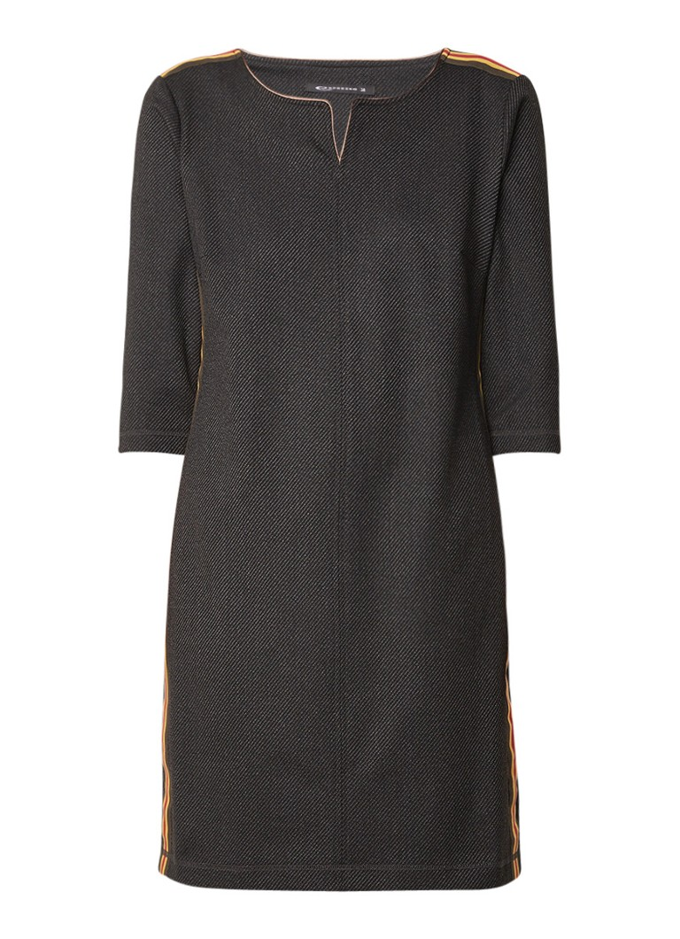 Expresso Lieve midi-jurk van twill met contrastbies antraciet