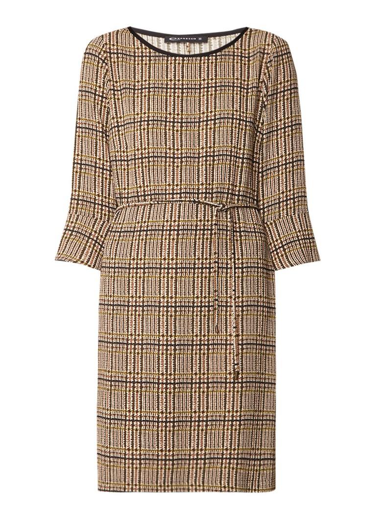 Expresso Lou midi-jurk van crêpe met ruitdessin bruin