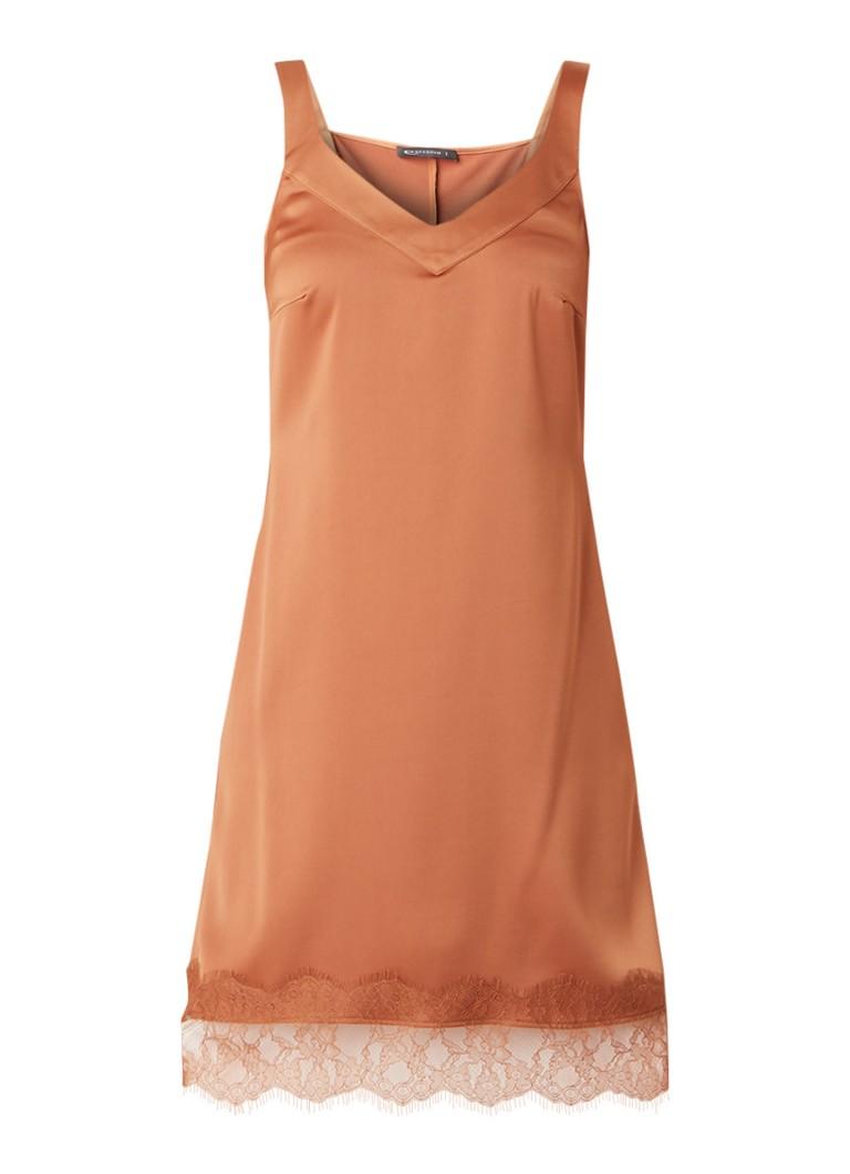 Expresso Macey cami midi-jurk van satijn met kant hazelnootbruin